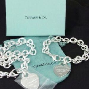 TIffany style heart necklace silver set